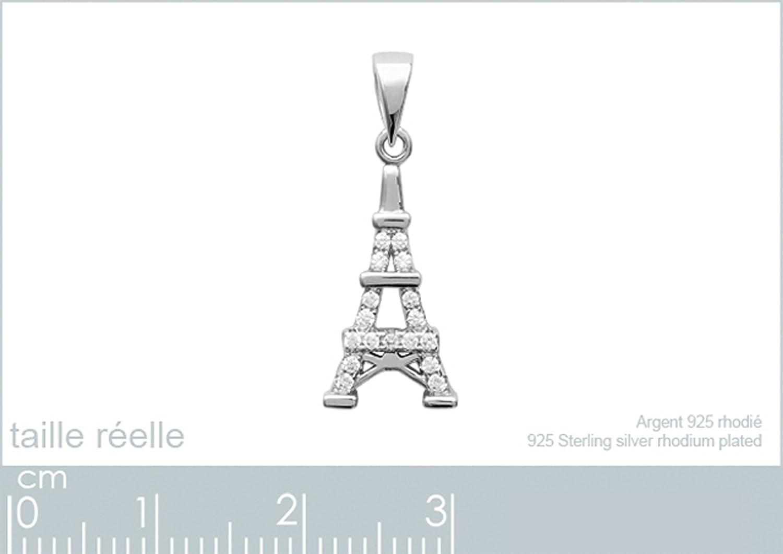 Pendentif Tour Eiffel en Argent 925 rhodi/é et Oxydes Zirconium Neuf