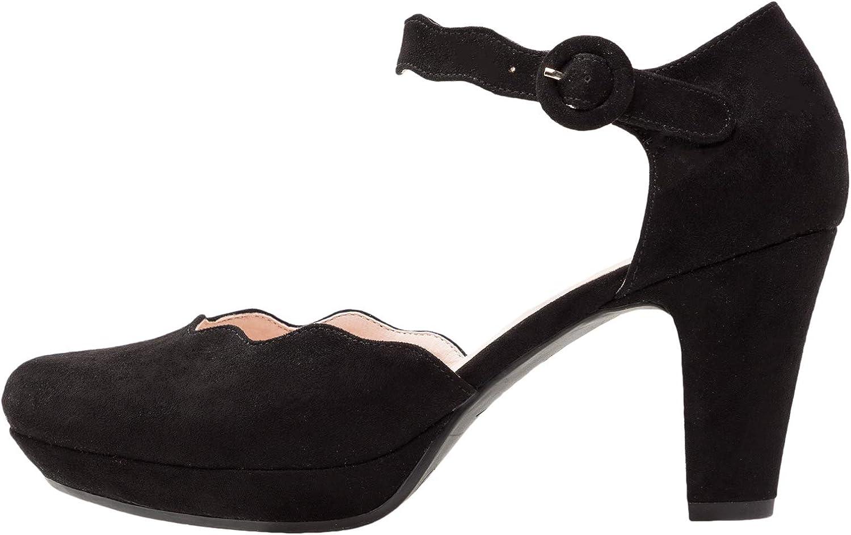 TALLA 42 EU. Anna Field Mary Janes con Tacón Mediano - Tacones Cómodos de Plataforma y Correas al Tobillo - Zapatos de Tacón Alto con Correas y Bordes Ondulados