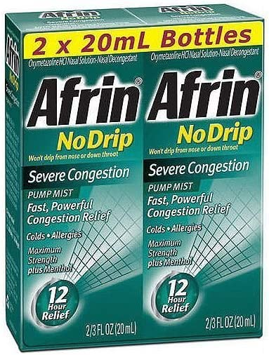 Afrin No Drip Severe Congestion Pump Mist Nasal Spray 12 Hour Relief 20 mL Bottle (Pack of 2): Health & Personal Care