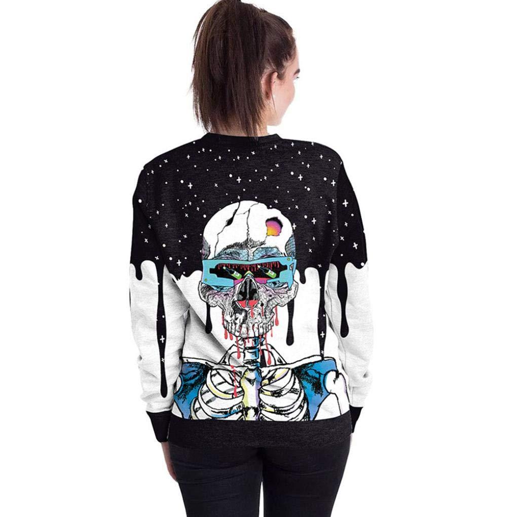 Womens Halloween Party Pullover Vovotrade Ladies Skull 3D Print Long Sleeve Sweatshirt Fashion Tops