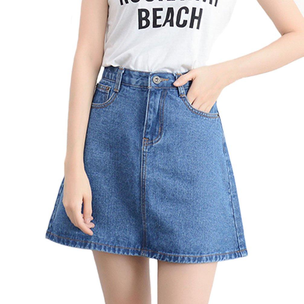 Minuoyi High Waist Pockets A-line Denim Skirt Various Size (M, Blue)