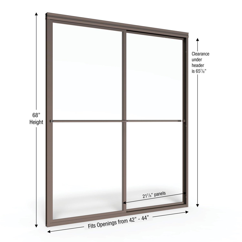 Basco Deluxe Framed Sliding Shower Door, Fits 42-44 inch opening ...