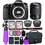 Canon EOS 80D 24.2MP CMOS Full HD Wi-Fi Enabled Digital SLR Camera with Tamron 18-200mm f/3.5-6.3 Vibration Reduction Lens + 2 x 32GB Class 10 SD Memory Card + Accessory Bundle