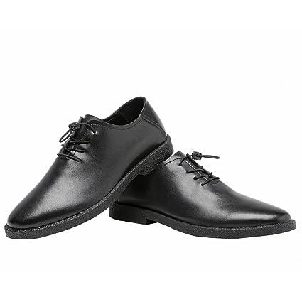 Jiuyue-shoes, Zapatos Bajos para Hombres Mocasines de Cuero Genuino Mate con Cordones Encaje