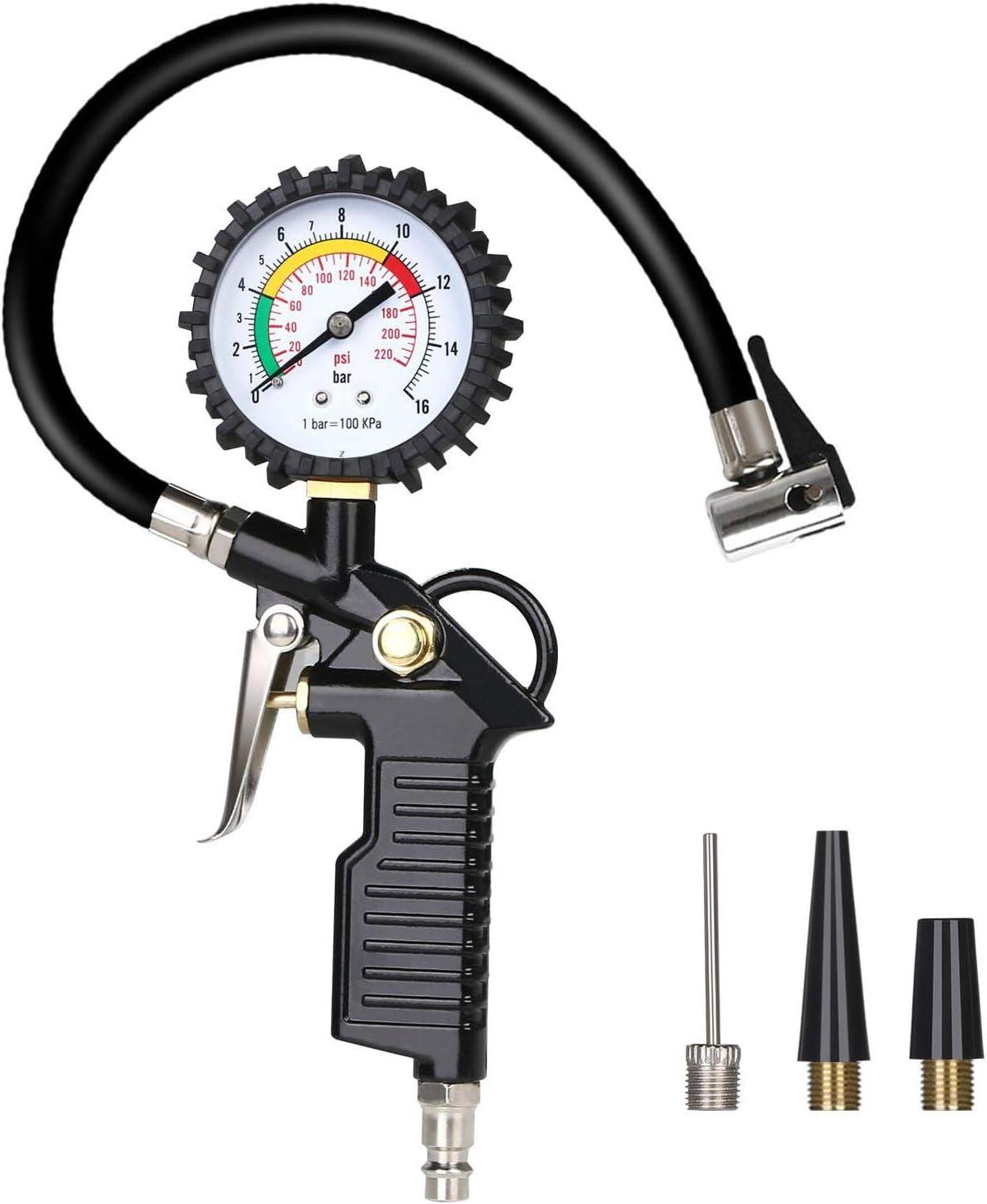 URAQT Manómetro Digital, Manómetro de Neumáticos, Medidor de Presión de Neumáticos con Manguera y Acoplador para Motocicleta, Bcicleta y Coche