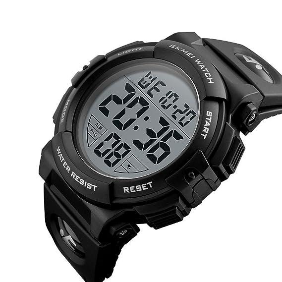 Reloj deportivo digital para hombre con pantalla LED, reloj militar de cara grande, alarma al aire libre, cronómetro, luz nocturna: Amazon.es: Relojes