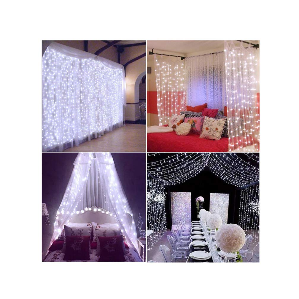 Decute Curtain Lights, 9.8 X 9.8ft 306 LED 100% UL Listed Christmas Decoration Fairy Light for Wedding, Bedroom, Bed Canopy, Garden, Patio, Outdoor Indoor, Warm