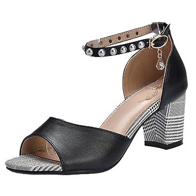 TAOFFEN Damen Schnurung Sandalen Sommer Schuhe Absatz  Black