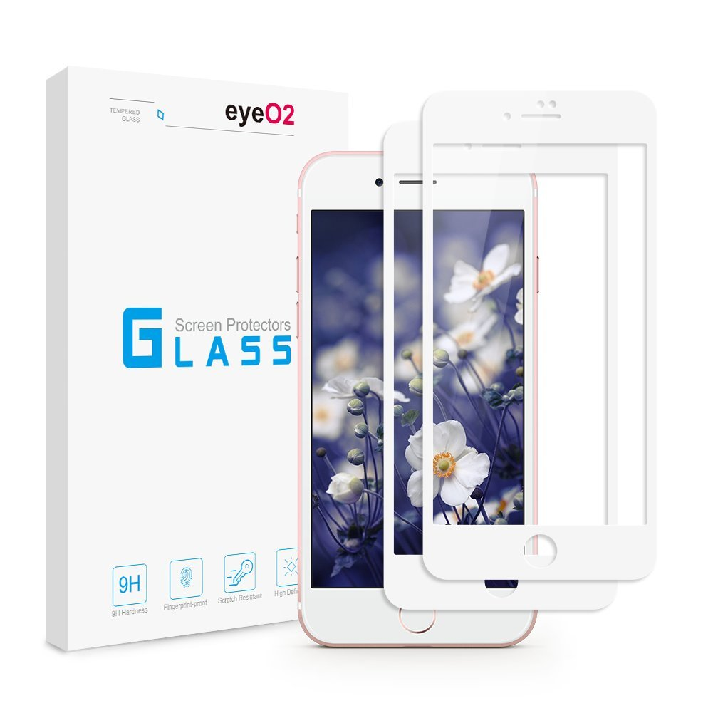 EyeO2 Screen Protector for iPhone 7 Plus 8 Plus White 2 pack Tempered Glass Screen Film 9H Hardness Full Coverage Screen Gurad Edge to Edge Protective Kits for iPhone 7 Plus / 8 plus Case Friendly