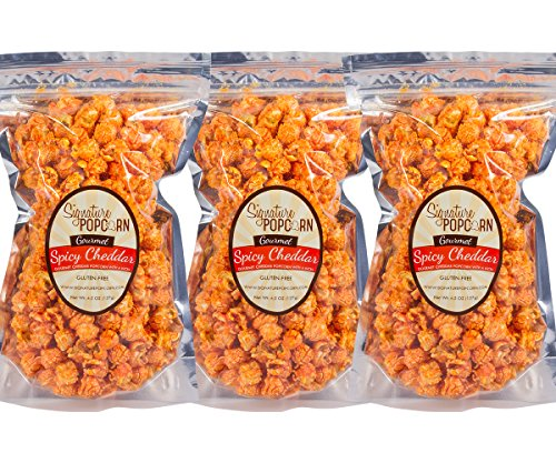 Hot Cheese Popcorn - Signature Popcorn - Gourmet Hot Spicy Cheddar Cheese - Large 3-Pack Resealable Bags - Perfect Snack