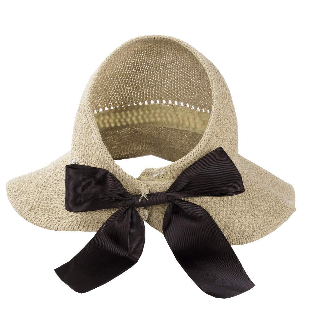 09584d03 Straw Beach Sun Visor Hats for Women Foldable Floppy (Straw-Bk-2  Pack-Khiki/Beige) at Amazon Women's Clothing store: