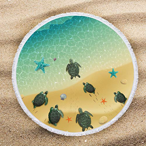 (ARIGHTEX Tortoise Round Beach Towel Bohemian Turtle Yoga Towel Marine Turtles Picnic Towel Tropical Sea Animals Circle Tablecloth 60