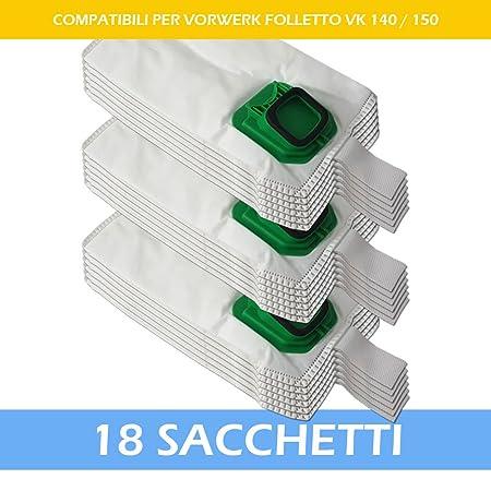 materiale tessuto non tessuto a 5 strati 12 sacchetti per aspirapolvere Folletto Kobold 140//150//VK140//VK150