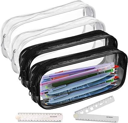 Estuche Transparente, Estuche de Lápices de PVC Negro Blanco Fundas de Lápices con Cremallera Reforzada para