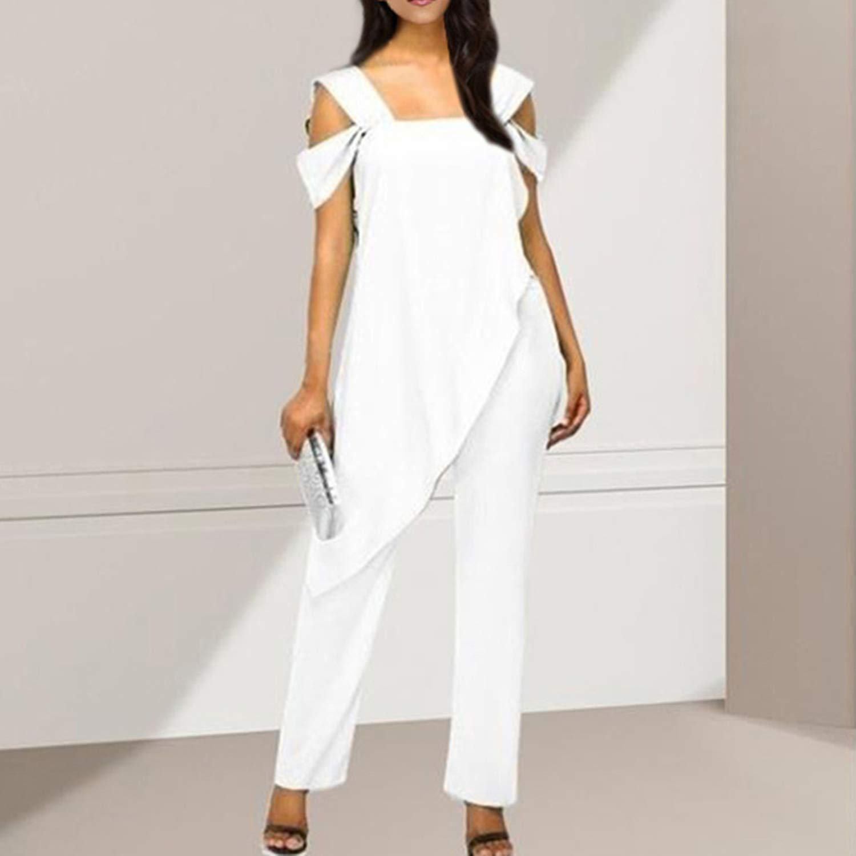 Womens Summer Overalls Jumpsuit Womens Slim Sleeveless Casual Irregular Pencil Plus Size Jumpsuit Female Body,B,XXL,United States