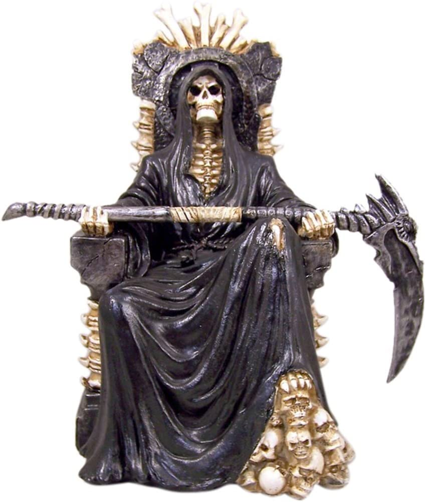Ruler of the Underworld Reaper on the Throne Resin Statue, 10 1/2 Inch (H)