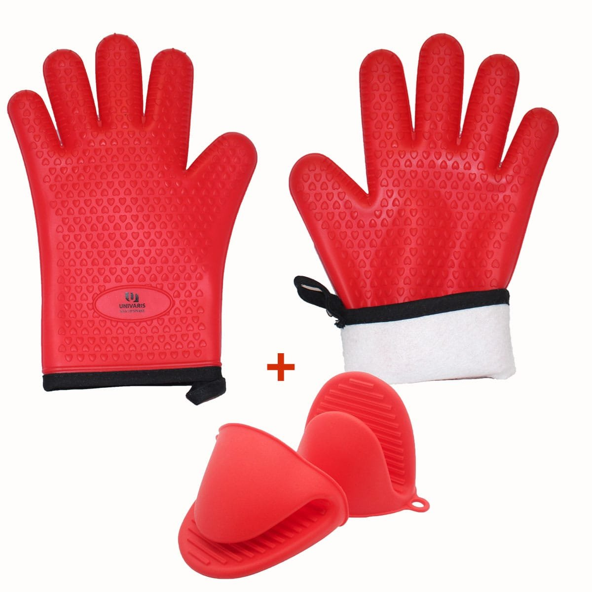 Univaris Oven Mitts BBQ Gloves and Mini Mitts Potholders Pair - Quilted Inner Cotton Lining and Silicone Heat Resistant and Waterproof | Premium Quality and Versatile Use|-Cooking, Pizza, Microwave, Baking, BBQ Instant Pot and Grilling Gloves, Mitts and Po