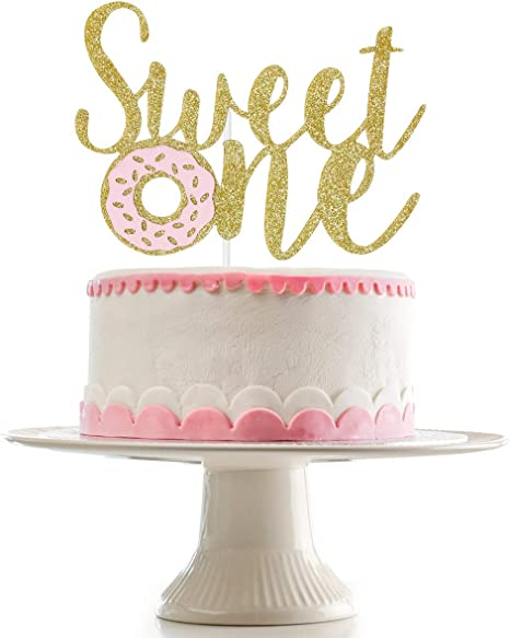Admirable Amazon Com Gold Glittery Sweet One Donut Cake Topper For 1St Personalised Birthday Cards Veneteletsinfo