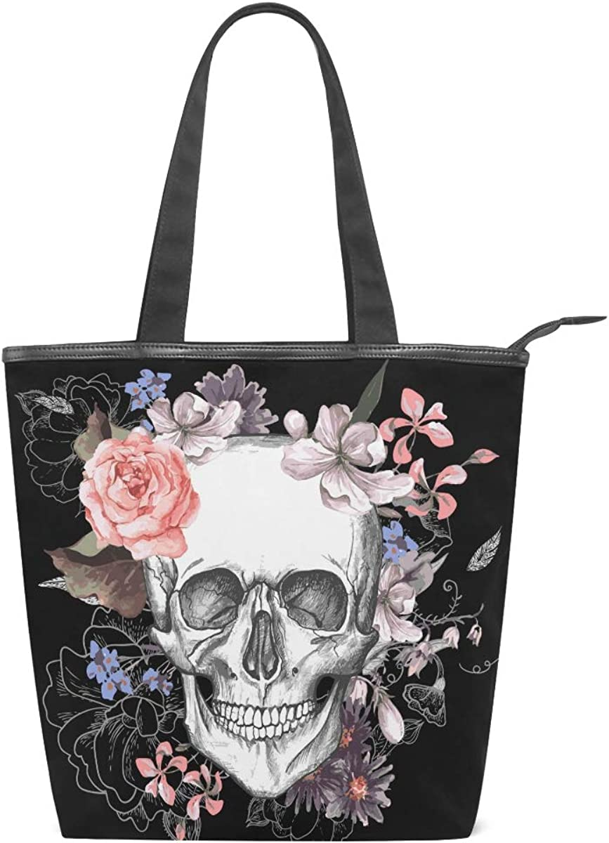 Pattern Handbag for Women Satchel Purse Halloween October Autumn Skull And Crossbones Mood Canvas Tote Bag