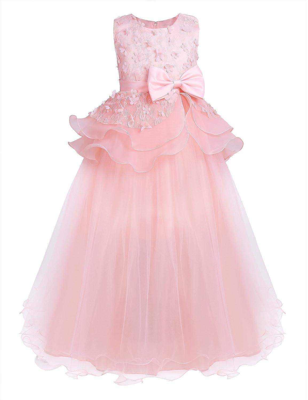 iixpin Enfant Fille Robe de Soirée Longue sans Manches Dentelle Noeud Florale Lace Fleur Vêtement de Performance Cérémonie Fête 2-12 Ans