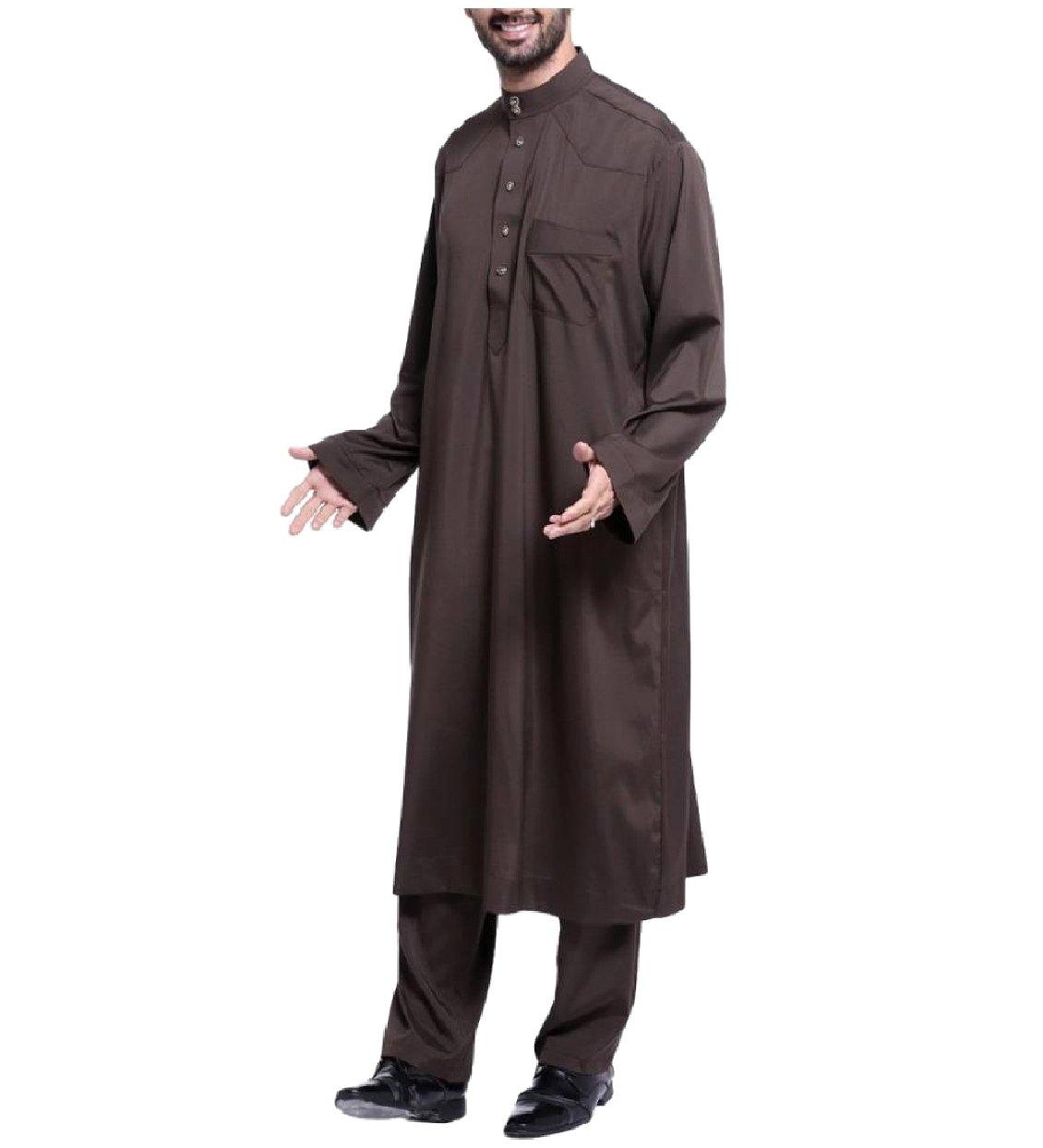 Abetteric Men Two Piece Pure Colour Middle East Muslim Salwar Suit Sets Coffee S