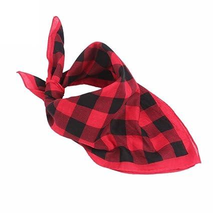 OHQ diadema bufanda cuadrada de cuadros rojo blanco azul ...