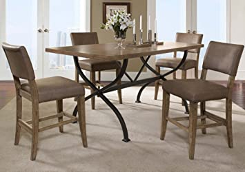 f8c09f77d9b Hillsdale Furniture 4670CTBRS4 Charleston 5-Piece Counter Height Rectangle  Wood Dining Set w Parson