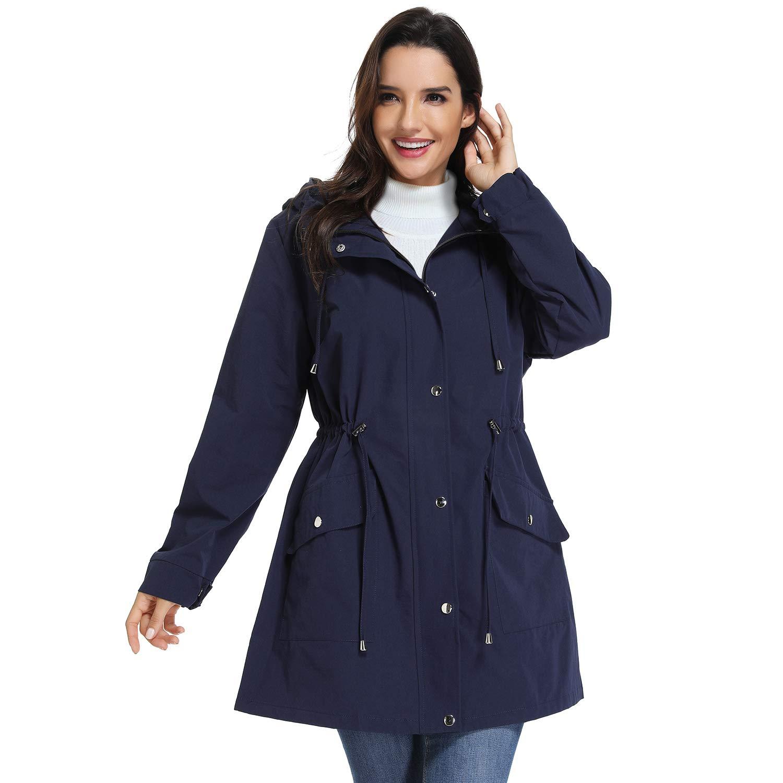 Dark bluee UNIQUEBELLA Hooded Waterproof Jacket Lightweight Raincoats Outdoor Rain Jacket