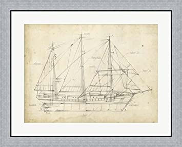 Amazon sailboat blueprint ii by ethan harper framed art print sailboat blueprint ii by ethan harper framed art print wall picture flat silver frame malvernweather Choice Image