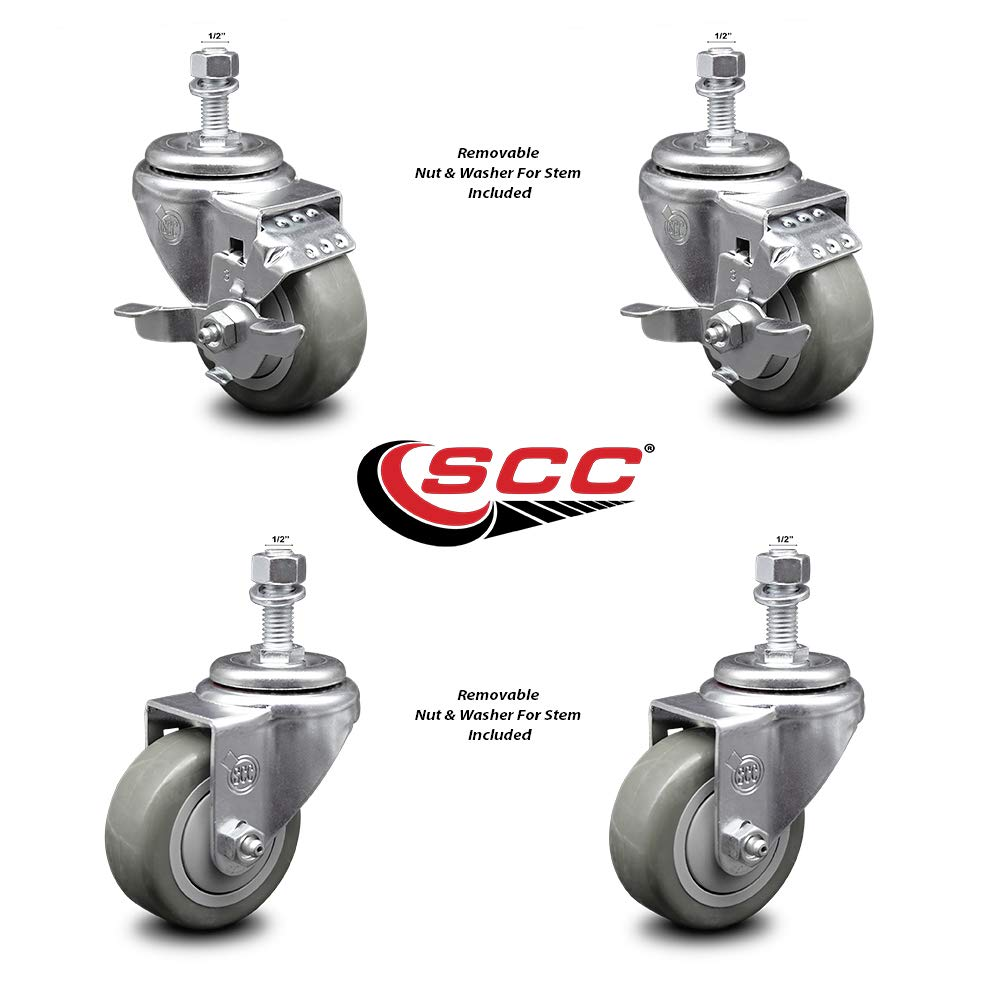 Polyurethane Swivel Threaded Stem Caster Set of 4 w/3'' x 1.25'' Gray Wheels and 1/2'' Stems - Includes 2 with Top Locking Brake - 1000 lbs Total Capacity - Service Caster Brand