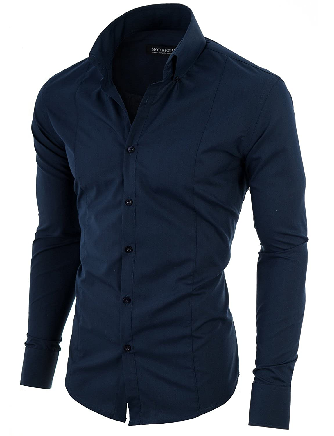 Moderno Slim Fit Dress Shirts For Men Long Sleeve Button Down Collar