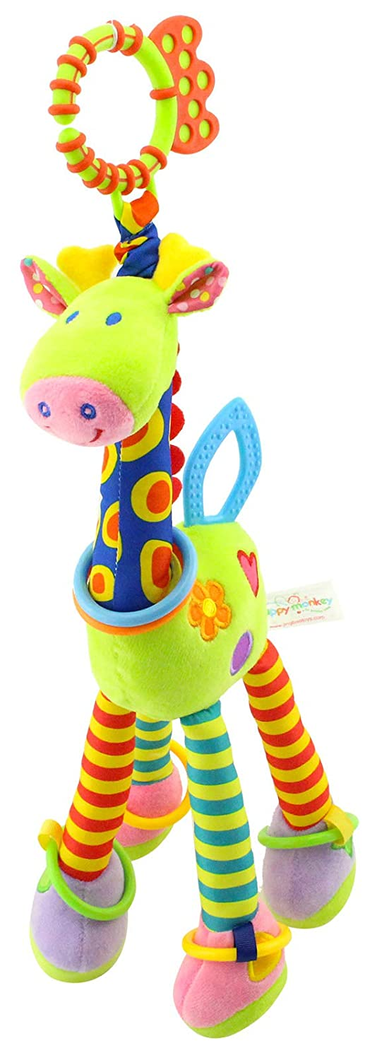 RichChoice Giraffe Baby Hanging Toys:3-6-12 Month,1-2-3 Years Old Toy for Car Seat, Stroller, Cot, Crib Bed; Giraffe Toy for Baby,Newborn,Infant, Toddler,Kids with Crinkle, Ring,Teether