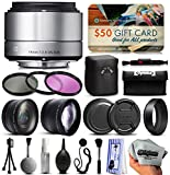 Sigma 19mm F2.8 DN Art Silver Lens for Panasonic/Olympus Micro Four Thirds (40S963) + 3 Piece Filter Set + 2.2x Telephoto + 0.43x Wide Angle + Cleaning Kit + Dust Blower + Lens Brush +