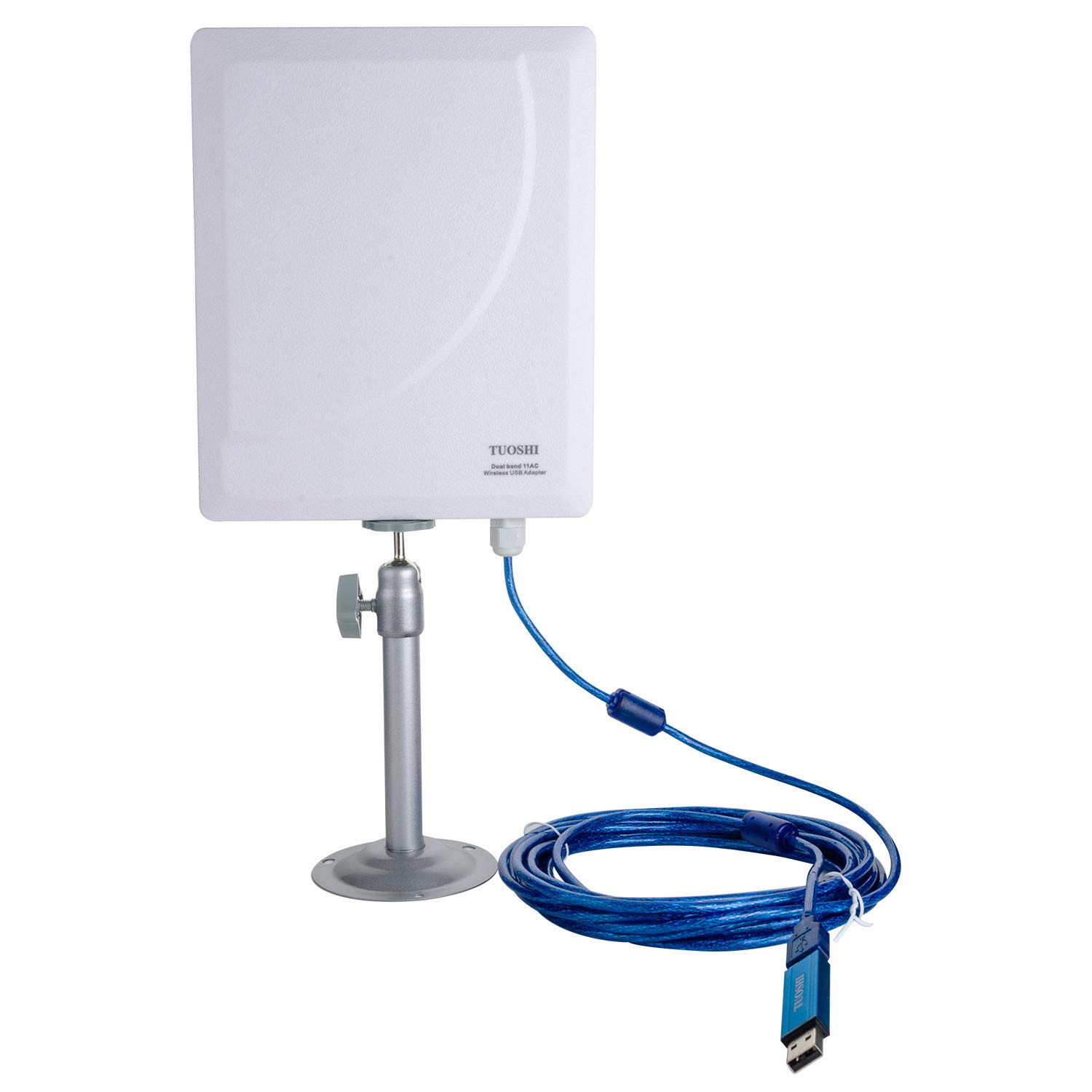 TUOSHI Outdoor High Gain Wi-Fi Antenna | Long Range USB Wi-Fi Extender Antenna for PCs | Support 600Mbps AC 802.11ac Dual Band 2.4 & 5 GHz