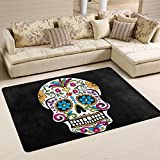 Naanle Floral Skull Area Rug 4'x6', Mexican Skull Day of the Dead Polyester Area Rug Mat for Living Dining Dorm Room Bedroom Home Decorative