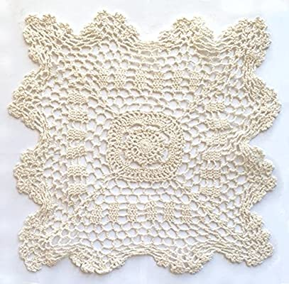 """6 pieces  10/""""  Square  Crochet Lace Doily   100 /% COTTON"""