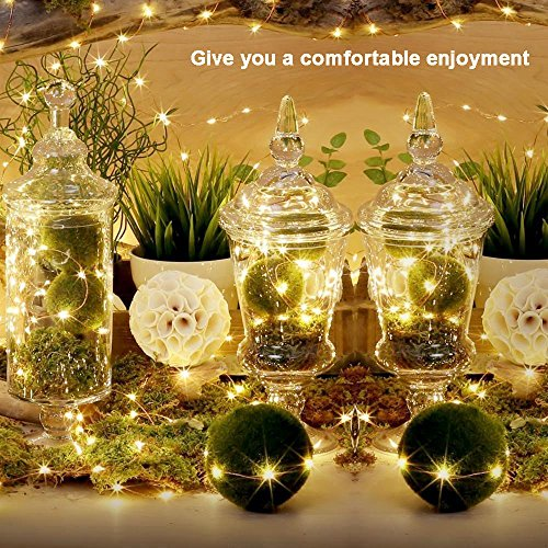 Ouniman 6 Pcs Starry String Lights, LEDs Fairy Lights Silver Coated Copper Wire, Battery Powered for Christmas Tree DIY Wedding Bedroom Easter Decor - Yellow by Ouniman (Image #6)