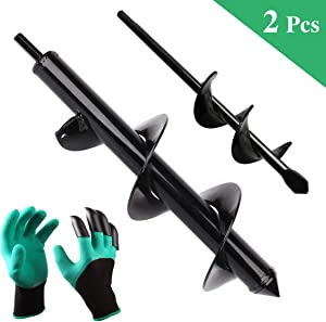 "Garden Auger Drill Bit Set, 12"" and 9"" Inch Rapid Planter with Garden Genie Gloves, Yard Gardening Planting Bulbs Auger, Post or Umbrella Hole Digger for Hex Drive Drill (2 Pcs)"