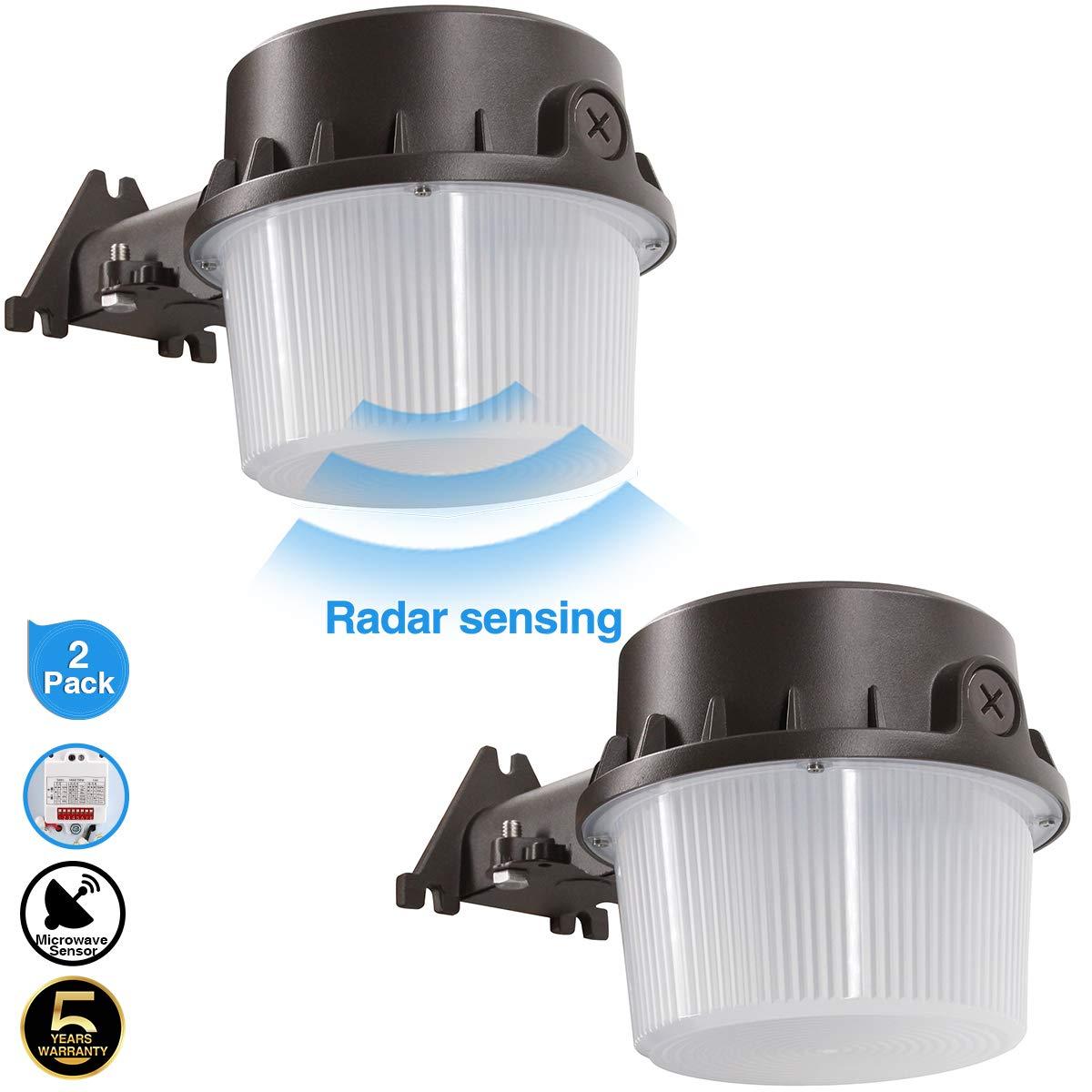 Radar Sense, LED Yard Light for Area Lighting LED Outdoor Barn Light, (250-350W Equivalent), 5000K Daylight, 4200lm Floodlight, Wet Location, Radar Sensor Included, 50K 2Pack by ZJOJO