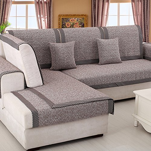bbppssooffaa Sofa Furniture Protector for pet or Dog Sofa Cover All Season Sectional Sofa Throw Cover pad Solid Color Thicken Cotton and Linen Slip Cover-A 35x28inch(90x70cm)