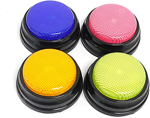 Ritioner Learning Answer Buzzers,Recordable Talking Button with Led Function Learning Answer Resources Answer Buzzers Orange+Blue+Green+Pink