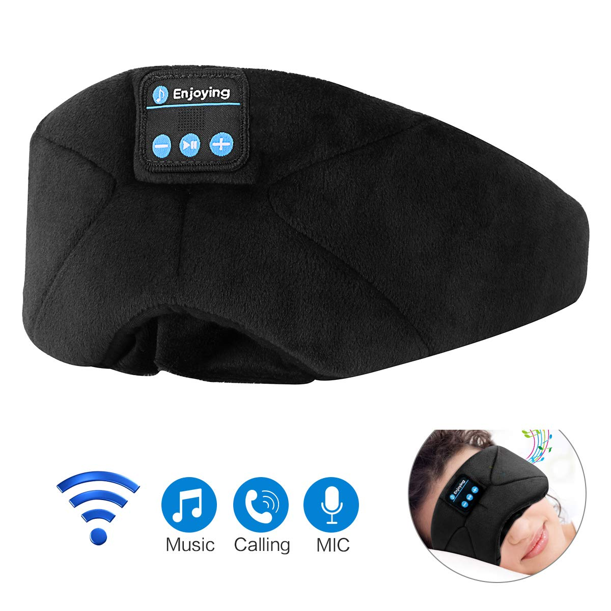 Bluetooth Earmuffs Headphones, Unisex Foldable Winter Ear Warmers Wireless Music Bluetooth Headsets Microphone Outdoor Sports, Travel, Black LC-dolida