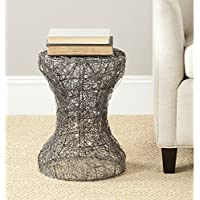 Safavieh Jonah Steelworks Iron Zig-Zag Link Side Table, Aged Zinc