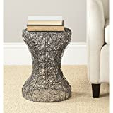 Safavieh Jonah Steelworks Iron Zig-Zag Link Side Table, Aged Zinc For Sale