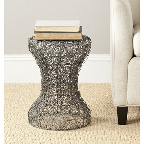- Safavieh Jonah Steelworks Iron Zig-Zag Link Side Table, Aged Zinc