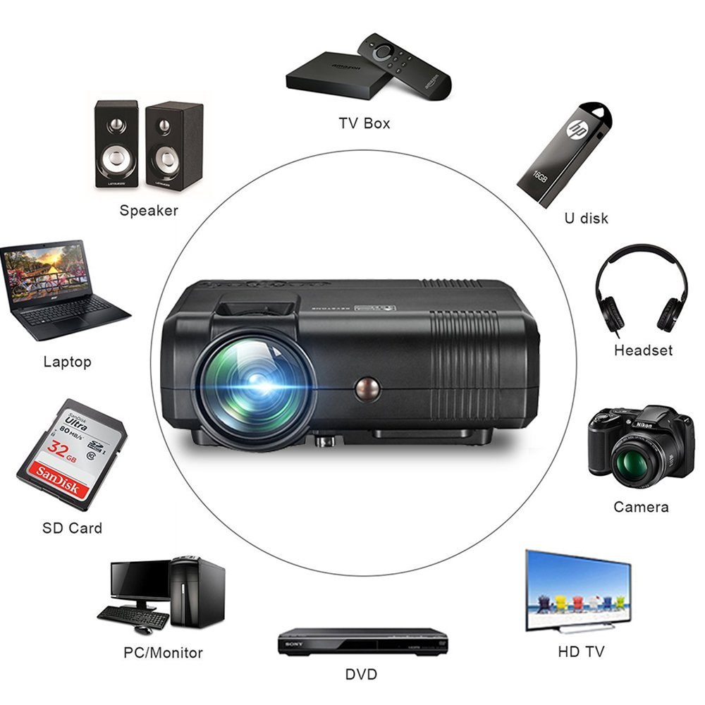 Projector, Weton 2200 Lumens Video Projector 1080P Portable Mini Projector Multimedia LED Projector Home Theater Movie Projector Support HDMI, USB, VGA, AV for IOS Android Smartphone (Plug and Play) by Weton (Image #5)