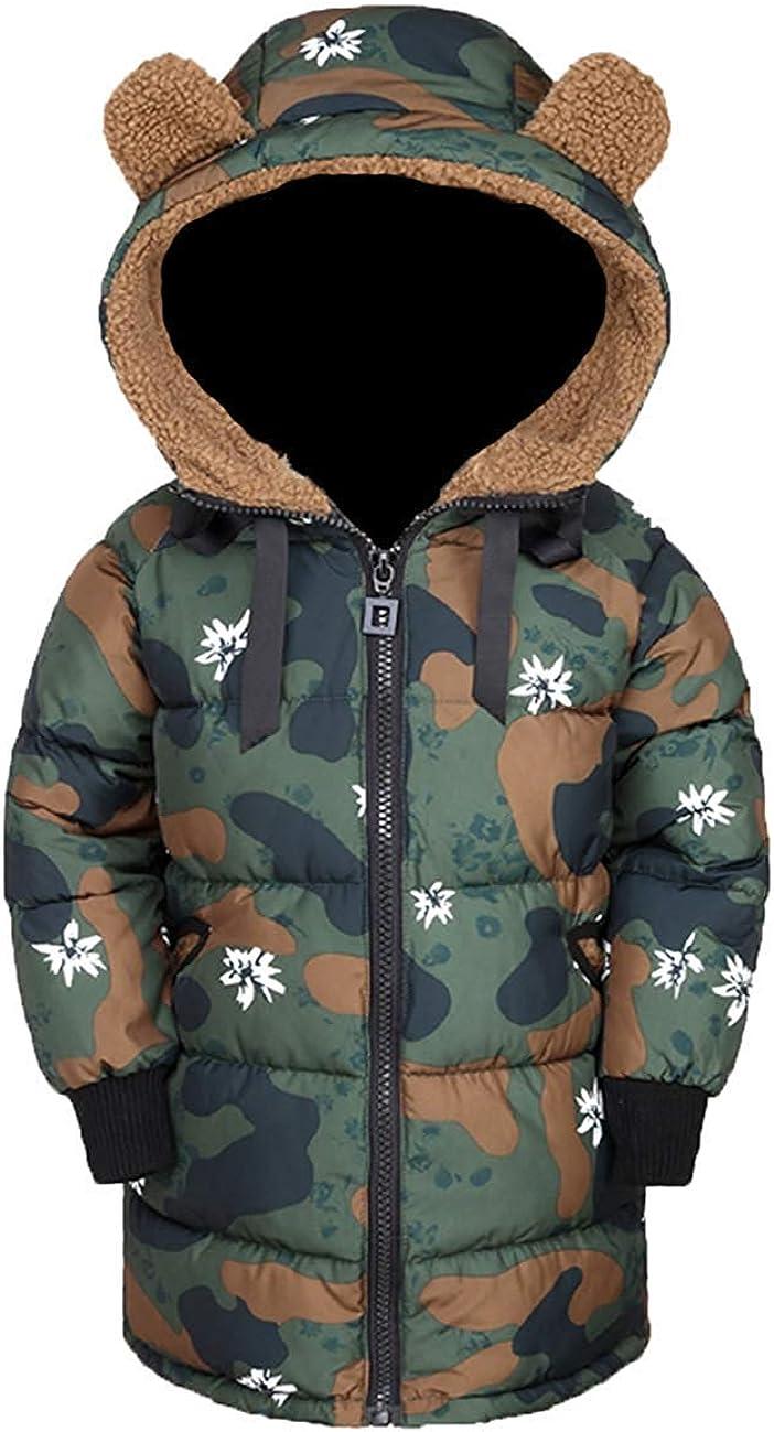 G-Kids Kinder Winterjacke Steppjacke Mantel M/ädchen Jungen Lange Verdickte Warme Camouflage Kapuzenjacke Parka Jacke mit Ohren