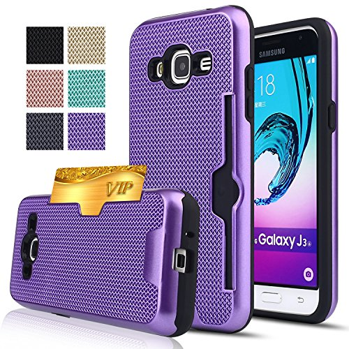 Price comparison product image Galaxy J3 Case, Galaxy Amp Prime / Express Prime / Sol / J3V Case,AnoKe[Credit Card Slots Holder][Not Wallet] Plastic TPU Hybrid Shockproof Heavy Duty Case For Samsung Galaxy J3 MW Purple