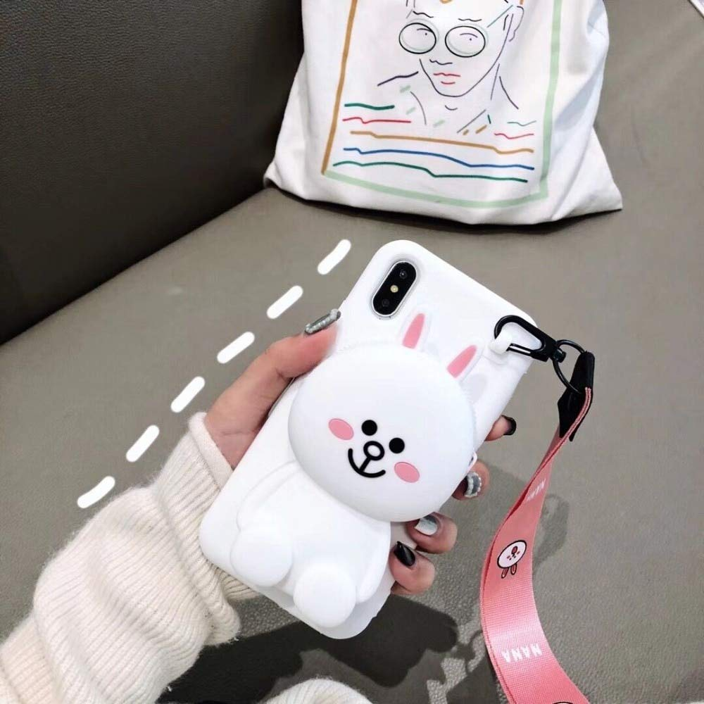 Twinlight Cute 3D Cartoon Cony Sally Bear Rabbit Chicken Phone Case for iPhone 7 8 Plus X XS XR XS max Soft Silicone Cover (White, for iPhone Xs Max)