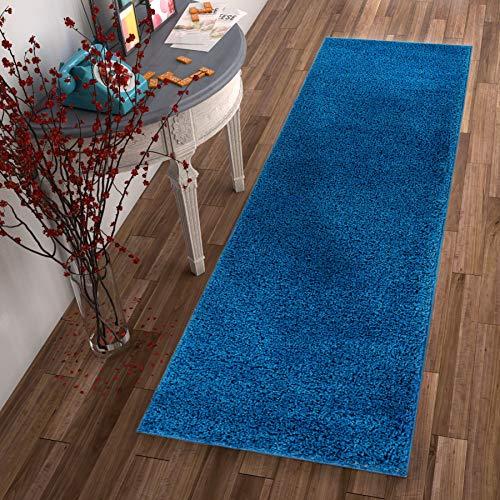 Solid Retro Modern Dark Blue Shag 2x7 (2'' x 7'3'' Runner) Area Rug Plain Plush Easy Care Thick Soft Plush Living Room Kids Bedroom